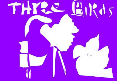 Digital Art - Three Birds Purple by Artist Dot