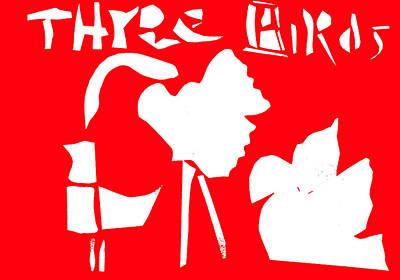 Digital Art - Three Birds Red by Artist Dot