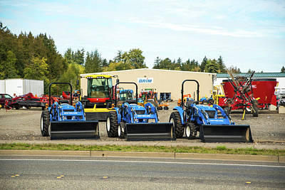 Photograph - Three Blue Tractors by Tom Cochran