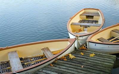 Recreational Boat Photograph - Three Boats Floating On Pond Beside Pier by Les Beautés De La Nature / Natural Beauties