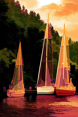 Photograph - Three Boats On The River Abstract by Debra and Dave Vanderlaan