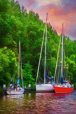 Photograph - Three Boats On The River Painting by Debra and Dave Vanderlaan