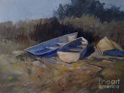 Painting - Three Boats Study by Mary Hubley