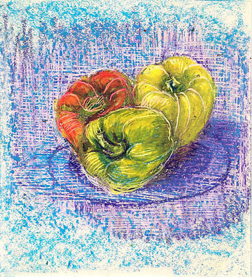 Drawing - Three Capsicums by Asha Sudhaker Shenoy