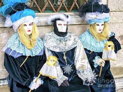 Photograph - Three Carnival Models At San Marco Venice by John Rizzuto