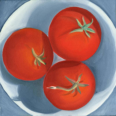 Painting - Three Cherry Tomatoes by Laura Dozor
