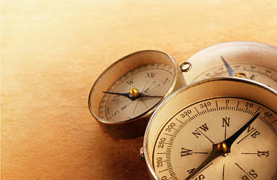 Topography Wall Art - Photograph - Three Compasses Leaning On One Another by Dny59