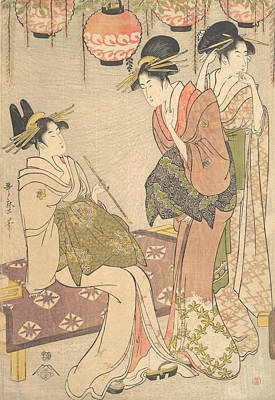 Relief - Three Courtesans by Kitagawa Utamaro