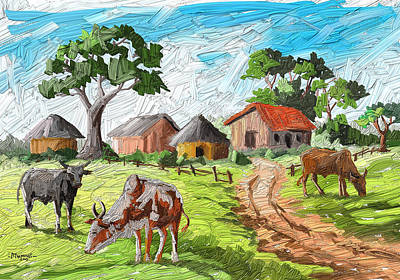 Wild Horse Paintings - Three Cows by Anthony Mwangi