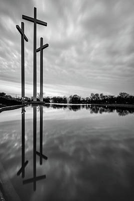 Photograph - Three Cross Reflections - Monochrome by Gregory Ballos