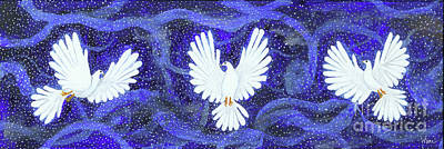 Painting - Three Doves In A Swirling Midnight by Lise Winne