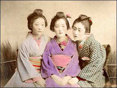 Painting - Three Geisha Handcolored Japanese Albumen Print From A Tourists Album Of The Early 20th Century  by Celestial Images