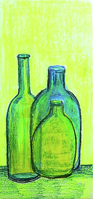 Painting - Three Green Bottles by Asha Sudhaker Shenoy
