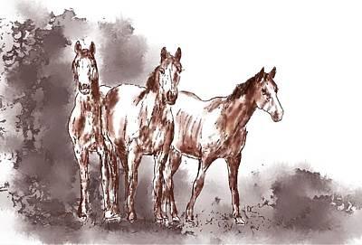 Digital Art - Three Horses by Diane Chandler
