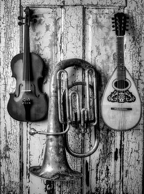 Photograph - Three Instruments Black And White by Garry Gay