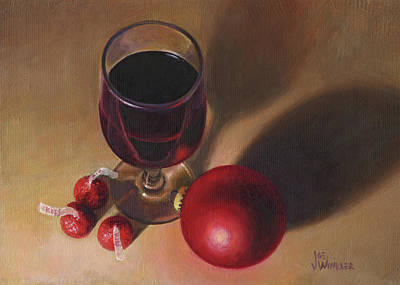 Painting - Three Kisses And A Glass Of Port by Joe Winkler