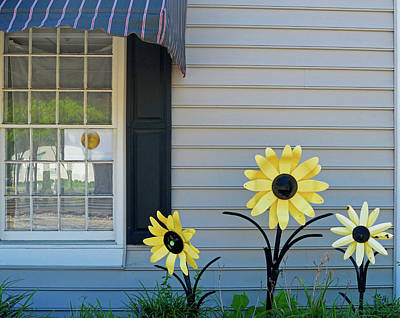 Photograph - Three Metal Flowers by Karen Harrison