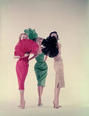Photograph - Three Models Wearing Sleek Underslips Ca by Gjon Mili