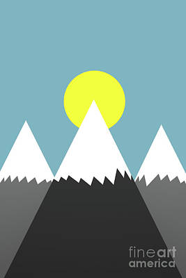 Digital Art - Three Mountains And Sun by Clayton Bastiani