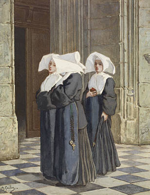 Drawing - Three Nuns In The Portal Of A Church by Armand Gautier