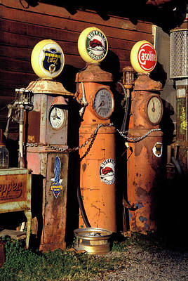 Gasoline Wall Art - Photograph - Three Old Gas Pumps by Charles Benes