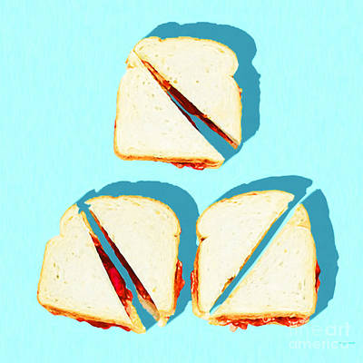 Photograph - Three Peanut Butter And Jelly Sandwiches Breakfast Of Champions Pop Art 20180925 Square by Wingsdomain Art and Photography