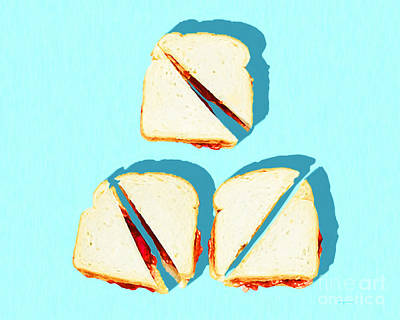 Photograph - Three Peanut Butter And Jelly Sandwiches Breakfast Of Champions Pop Art 20180925 by Wingsdomain Art and Photography