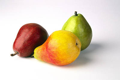 Yellow Photograph - Three Pears, Red, Yellow And Green, On by Diane Miller