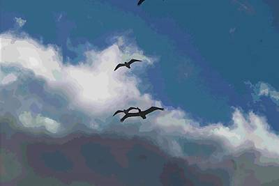 Design Pics - Three Pelicans Flying At Nags Head  by Cathy Lindsey