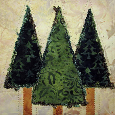 Tapestry - Textile - Three Pines by Pam Geisel
