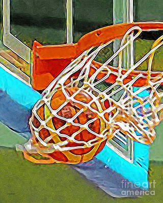 Photograph - Three Point Shot From Downtown Nothing But Net Basketball 20190106 by Wingsdomain Art and Photography