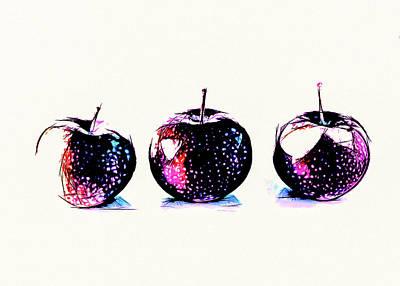 Blue Hues - Three Red Apples by Bob Orsillo