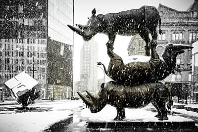 Photograph - Three Rhinoceri In New York  by Chris Lord