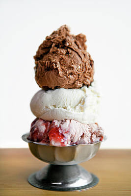 Photograph - Three Scoops Of Ice Cream In A Pewter by Richard Ross
