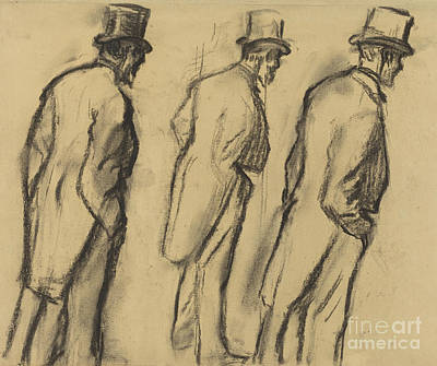 Drawing - Three Studies Of Ludovic Halevy Standing by Edgar Degas