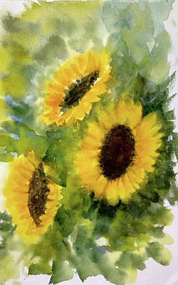 Painting - Three Sunflowers by Asha Sudhaker Shenoy