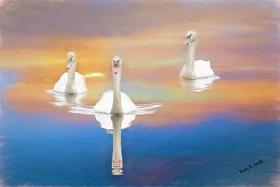 Digital Art - Three Swans. by Rusty R Smith