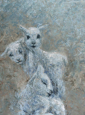 Painting - Three Textured Lambs by Nicola Jeanette Cochran