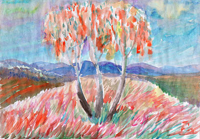 Painting - Three Trees - Three Sisters In The Meadow by Dobrotsvet Art