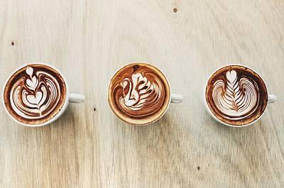 Photograph - Three Types Of Latte Art by Carlina Teteris
