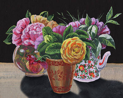 Painting - Three Vases With Roses Floral Impressionism  by Irina Sztukowski