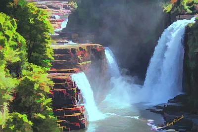 Digital Art - Three Waterfalls Ausable Chasm. Grand Canyon Of The Adirondacks by Rusty R Smith