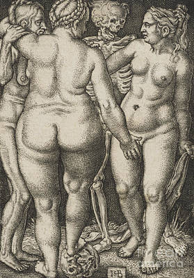 Drawing - Three Women And Dead by Hans Sebald Beham