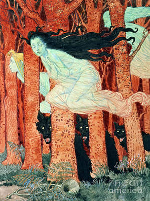 Painting - Three Women And Three Wolves by Eugene Grasset