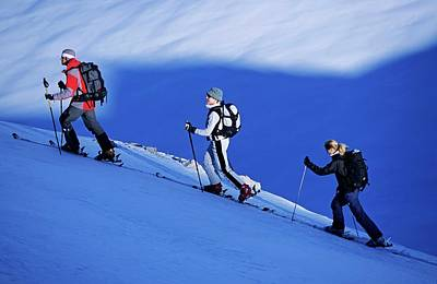 Ski Resort Photograph - Three Young Persons, Two Women And A by Bernard Van Dierendonck / Look-foto