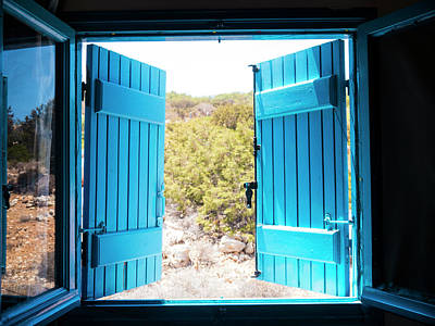 Photograph - Through The Blue Shutters by Rae Tucker