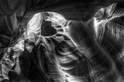 Photograph - Through The Shadows - Antelope Canyon Monochrome by Gregory Ballos