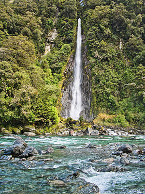 Photograph - Thunder Creek Falls - New Zealand by Steven Ralser