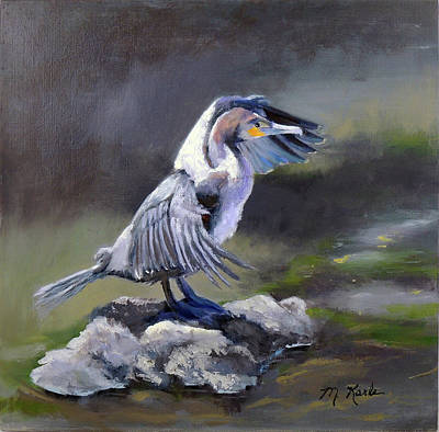 Painting - Tiber River Cormorant by Marsha Karle