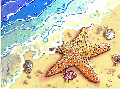 Painting - Tidal Beach Starfish by Richard De Wolfe